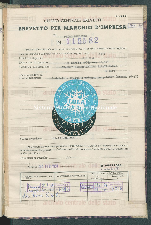 'Gelati e frutta e ortaggi congelati' 'Fagel'Fabbricazione Gelati S.P.A. (11/02/1954)