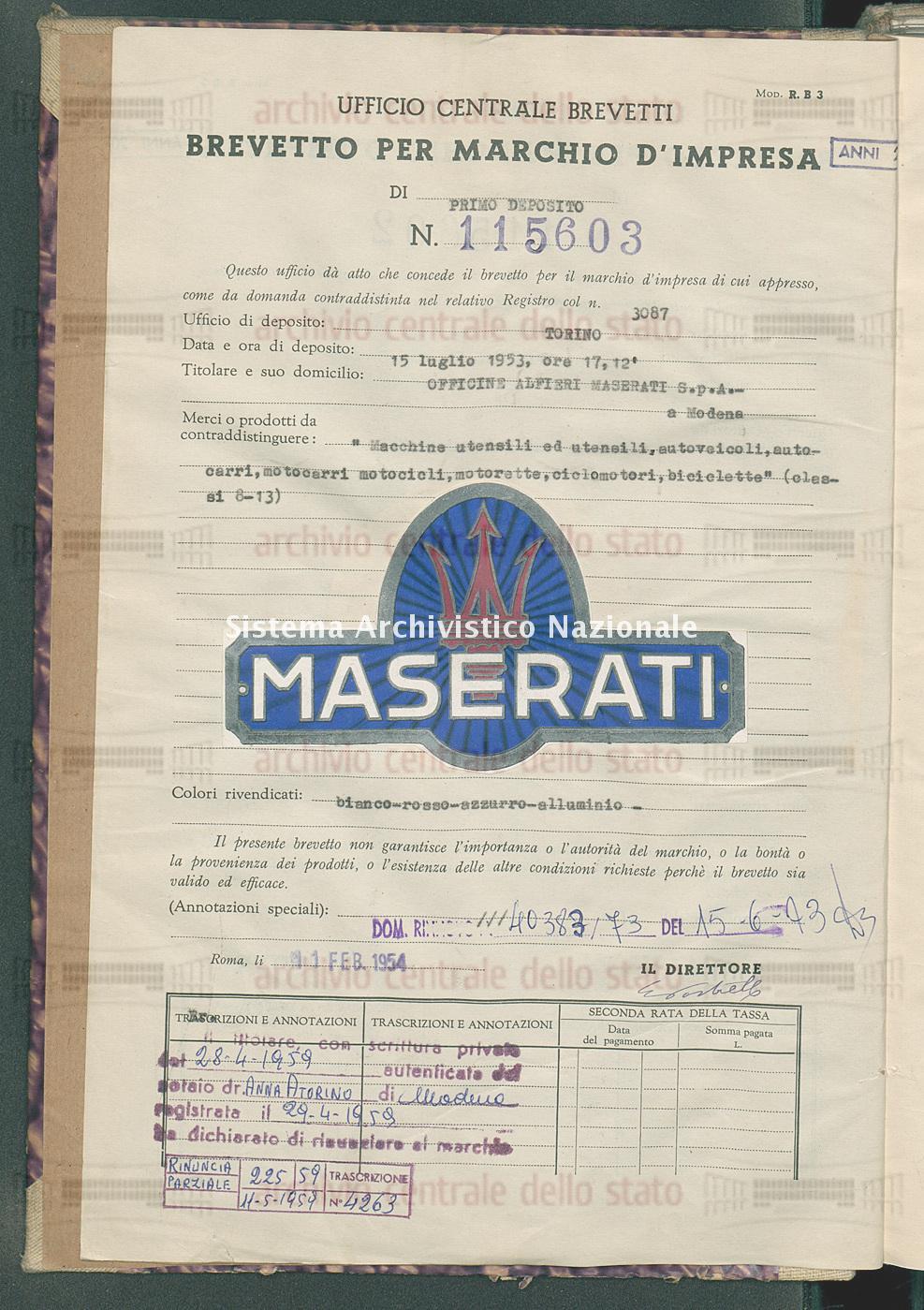 'Macchine utensili ed utensili, autoveicoli, autocarri, motocarri ecc. Officine Alfieri Maserati S.P.A. (11/02/1954)