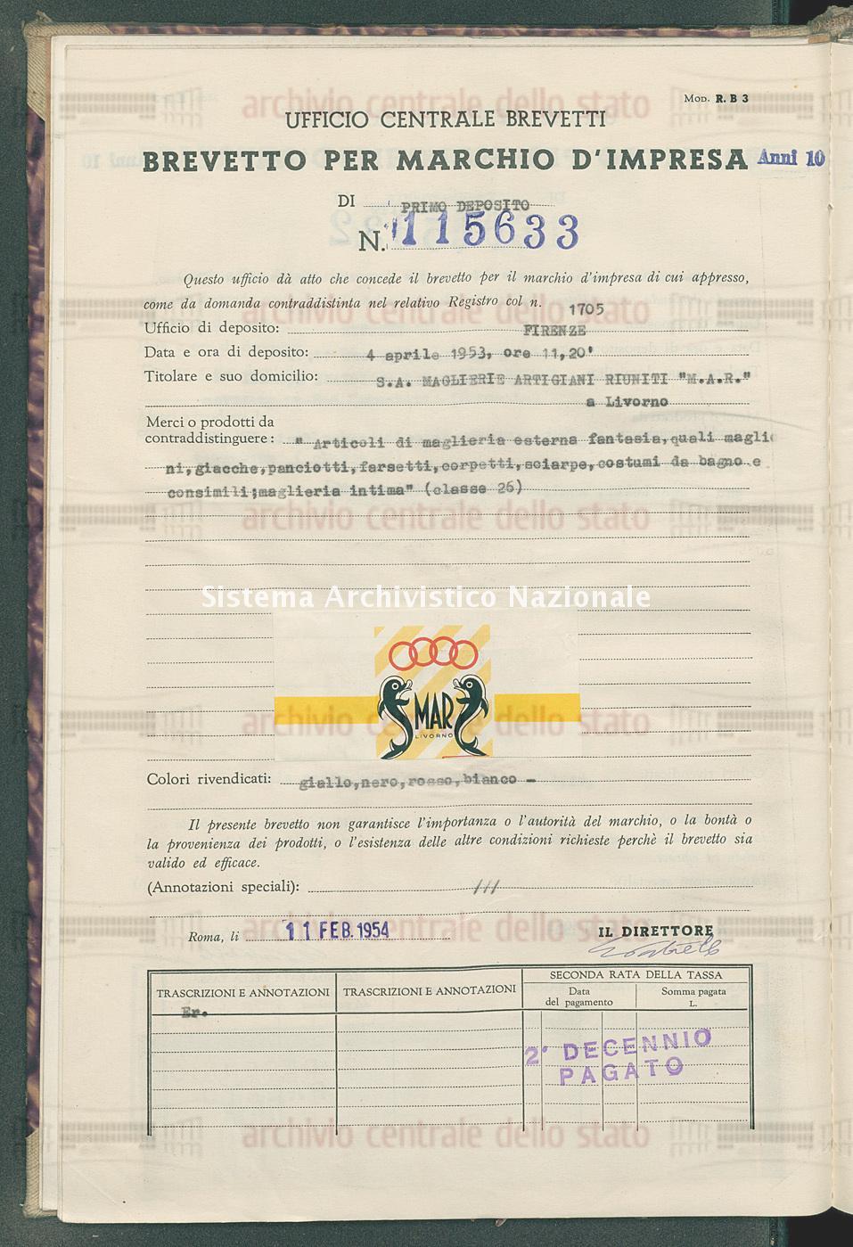 'Articoli di maglieria esterna fantasia, quali maglioni, giacche, ecc. S.A.Maglierie Artigiani Riuniti'M.A.R.' (11/02/1954)