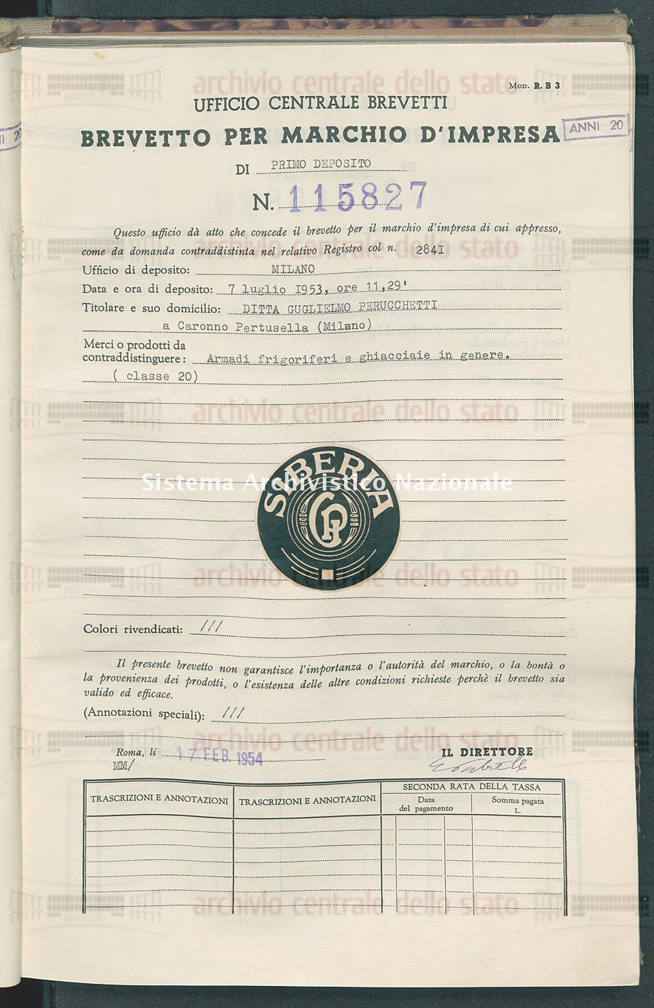 Armadi frigoriferi e ghiacciaie in genere Ditta Guglielmo Perucchetti (17/02/1954)