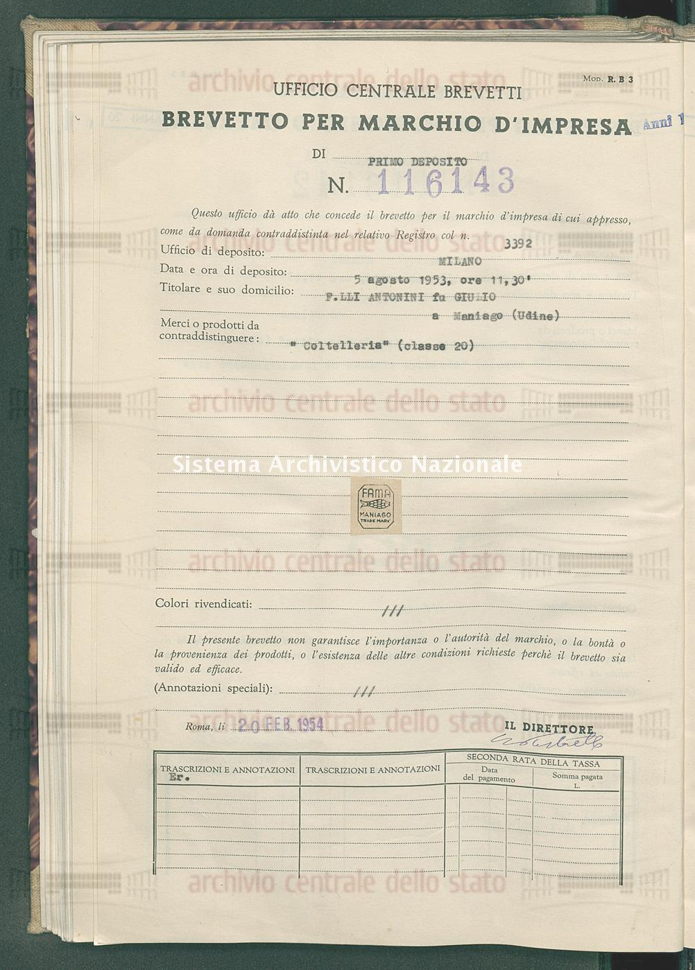 'Coltellerie' F.Lli Antonini Fu Giulio (20/02/1954)