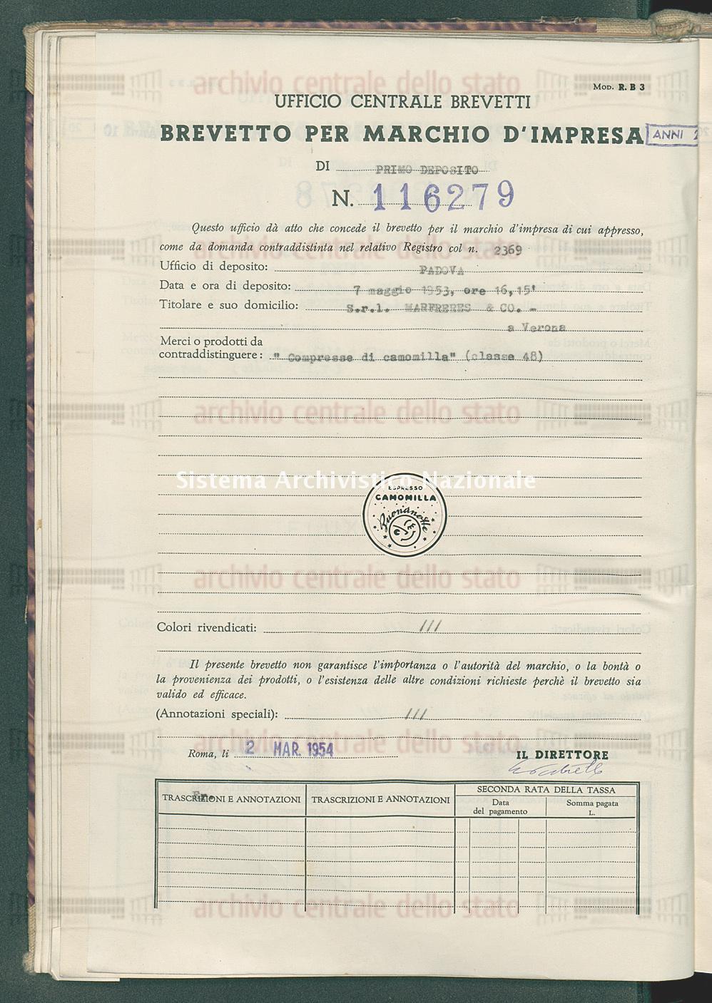 'Compresse di camomilla' S.R.L.Marfreres & Co. (02/03/1954)