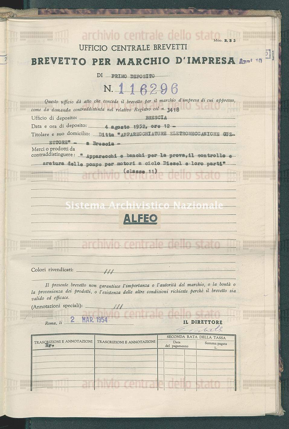 'Apparecchi e banchi per la prova, il controllo e aratura dello pompe Ditta 'Apparecchiature Eletromeccaniche Cuz-Ettore' (02/03/1954)