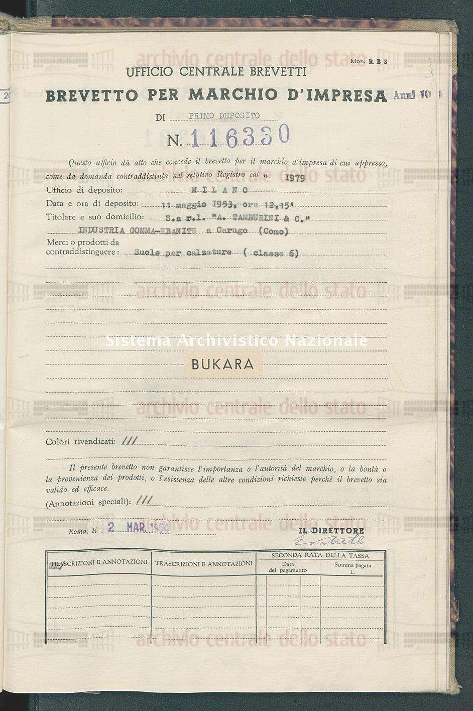 Suole per calzature S.A R.L. 'A.Tamburini & C.'Industria Gomma-Ebanite (02/03/1954)