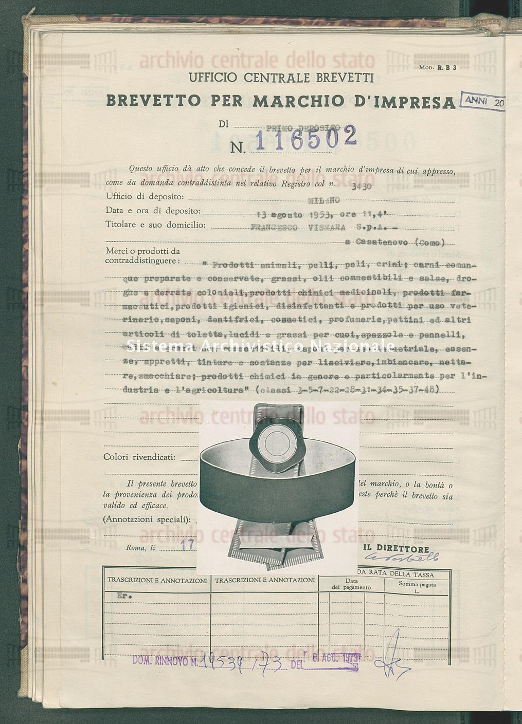 'Prodotti animali, pelli, peli, crini; carni comunque preparate ecc. Francesco Vismara S.P.A. (17/03/1954)