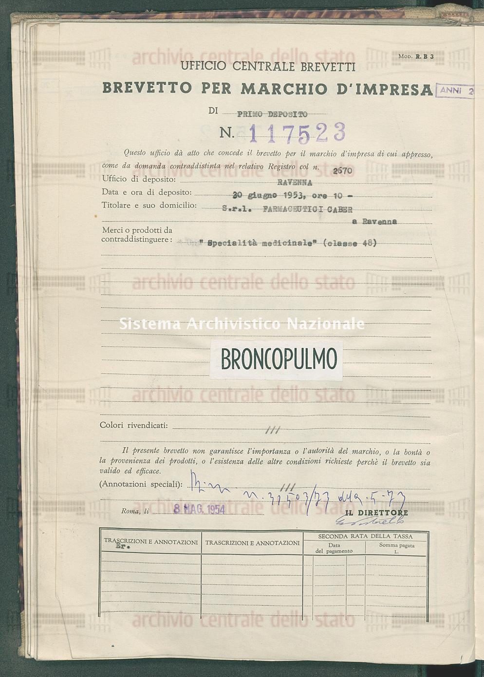 'Specialita' medicinale' S.R.L. Farmaceutici Caber (08/05/1954)