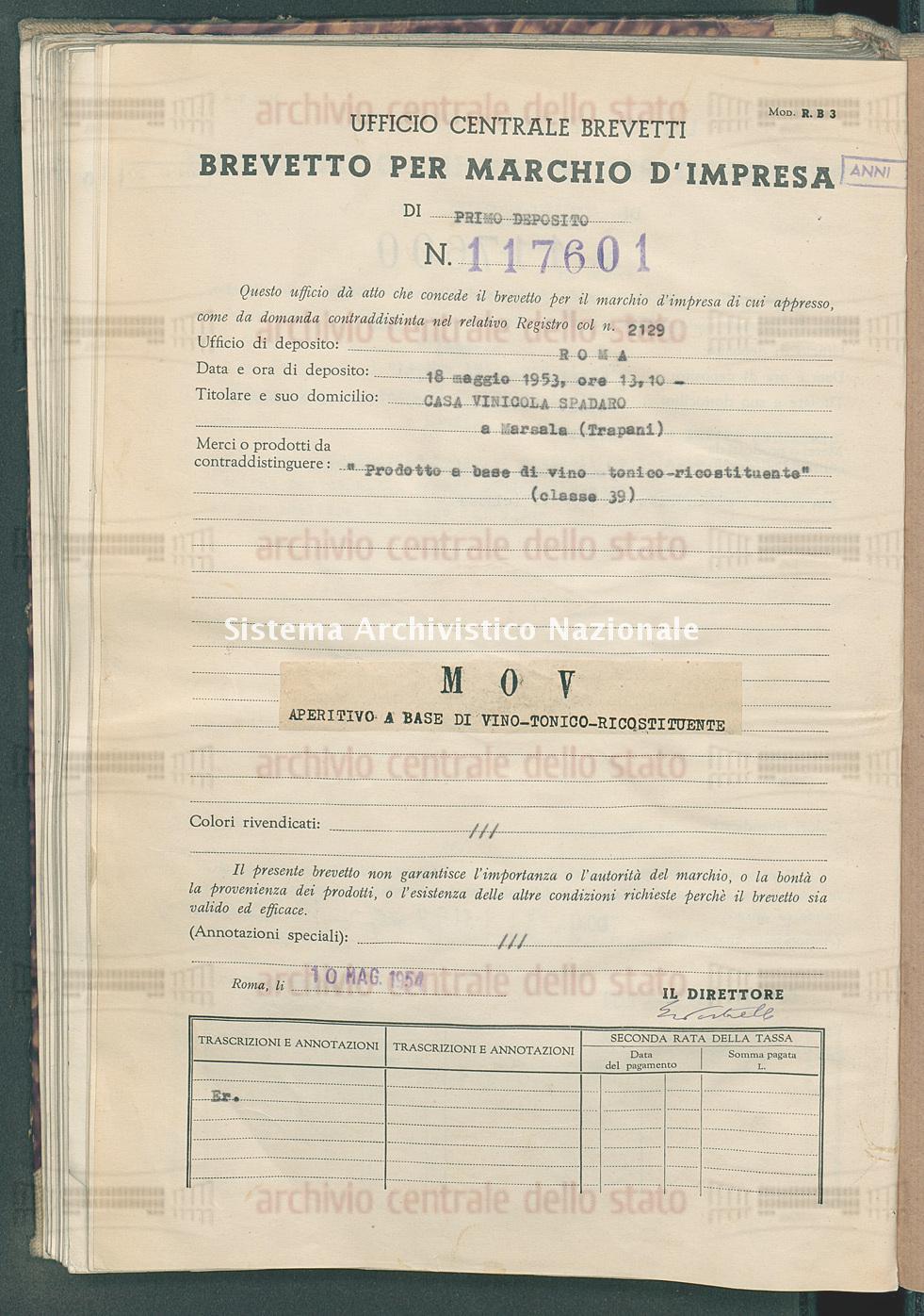 'Prodotto a base di vino tonico-ricostituente' Casa Vinicola Spadaro (10/05/1954)