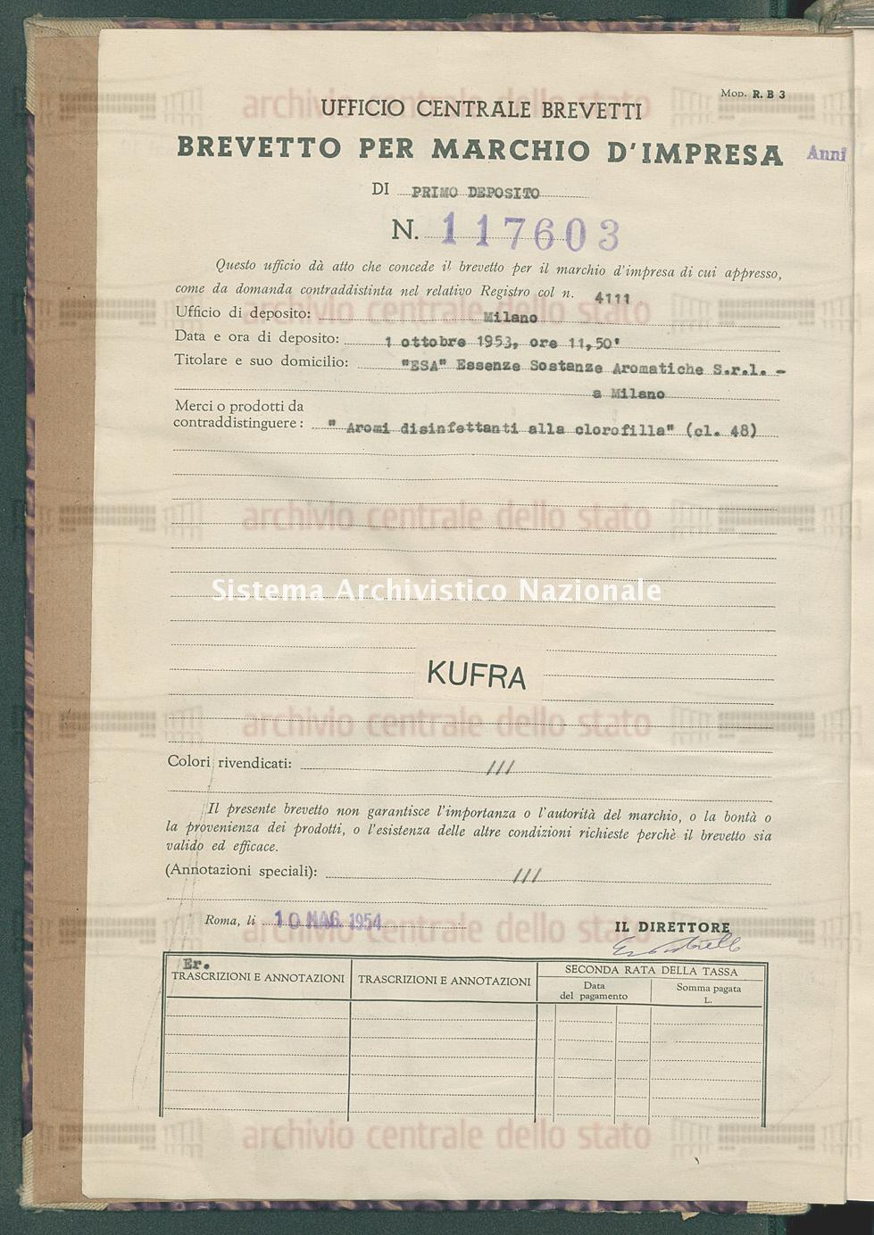 'Aromi disinfettanti alla clorofilla' 'Esa' Essenze Sostanze Aromatiche S.R.L. (10/05/1954)