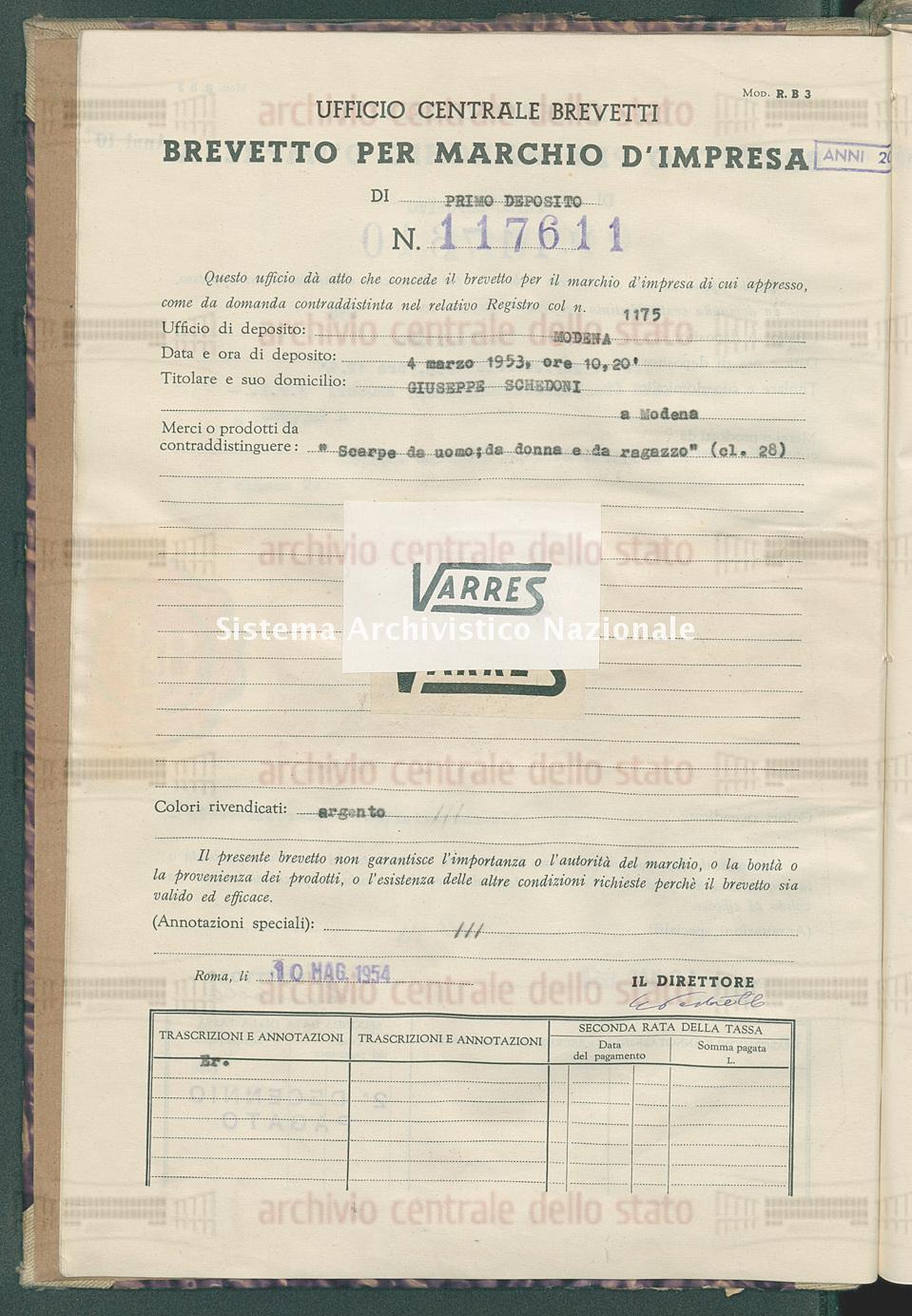 'Scarpe da uomo; da donna e da ragazzo' Giuseppe Schedoni (10/05/1954)