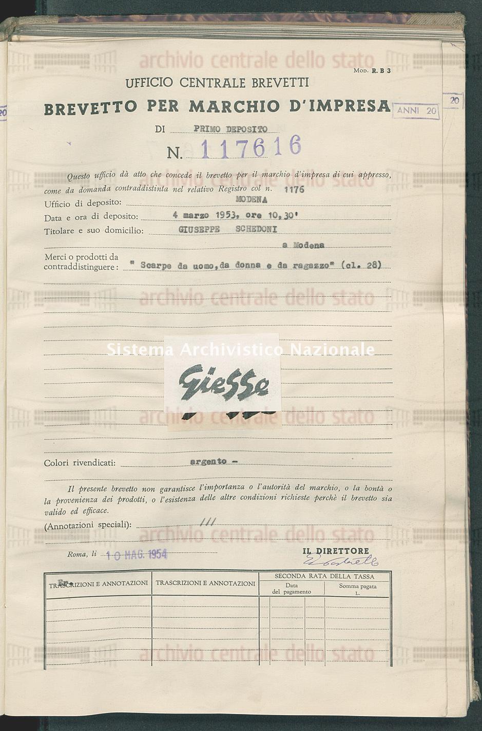 'Scarpe da uomo, da donna e da ragazzo' Giuseppe Schedoni (10/05/1954)