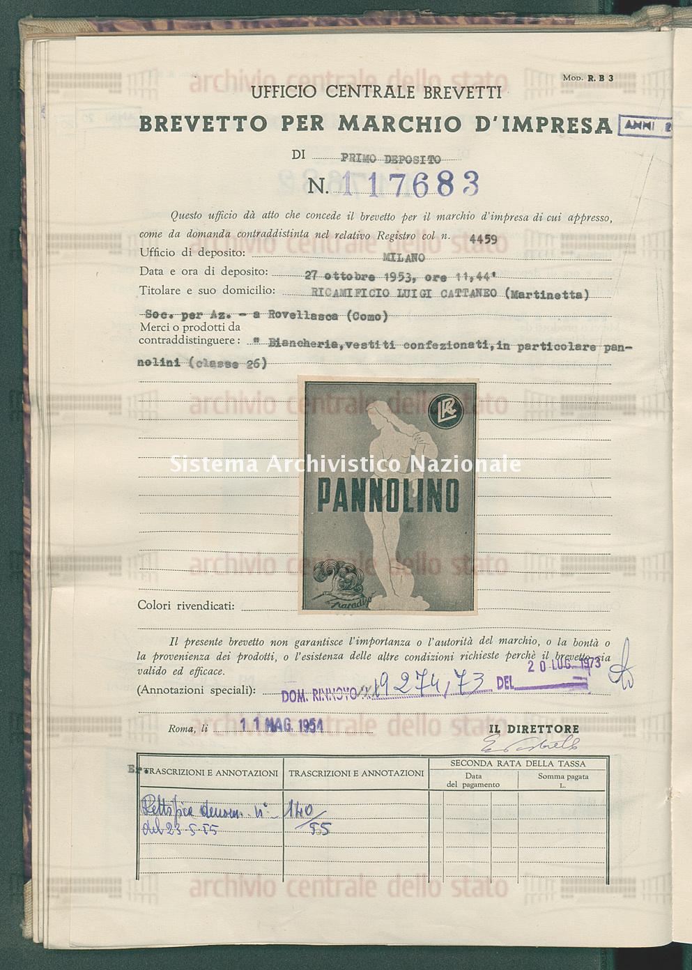'Biancheria, vestiti confezionati in particolare pannolini Ricamificio Luigi Cattaneo (Martinetta) Soc.Per Az. (10/05/1954)