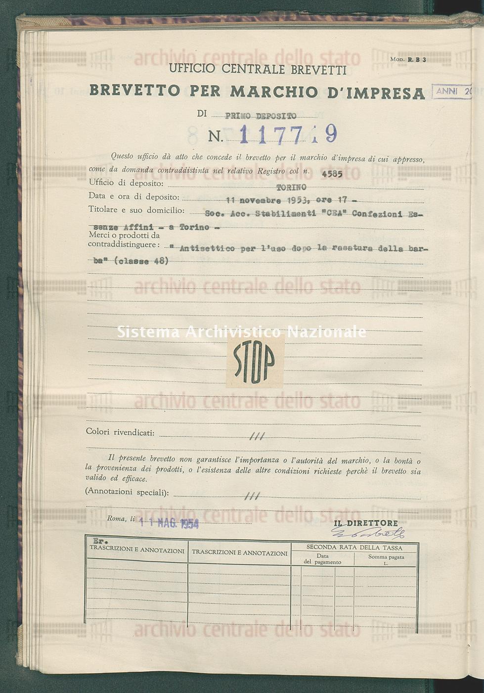 'Antisettico per l'uso dopo la rasatura della barba' Soc.Acc. Stabilimenti 'Cea' Confezioni Essenze Affini (11/05/1954)