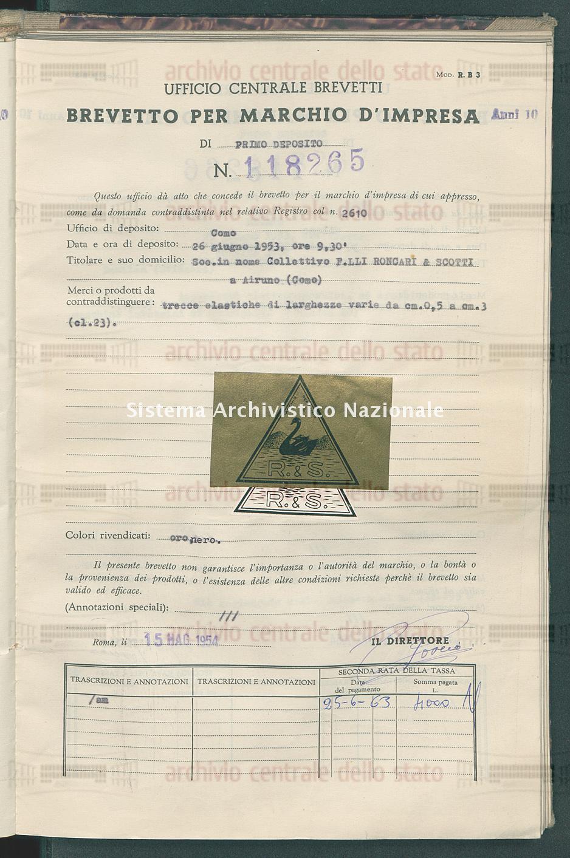 Trecce elastiche di larghezze varie da cm. o,5 a cm. 3 Soc. In Nome Collettivo F.Lli Roncari % Scotti (15/05/1954)