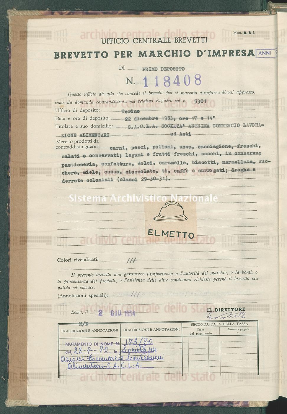 Carni, pesci, pollami, uova, cacciagione, freschi, salati ecc. S.A.C.L.A. Societa' Anonima Commercio Lavorazione Alimentari (02/06/1954)