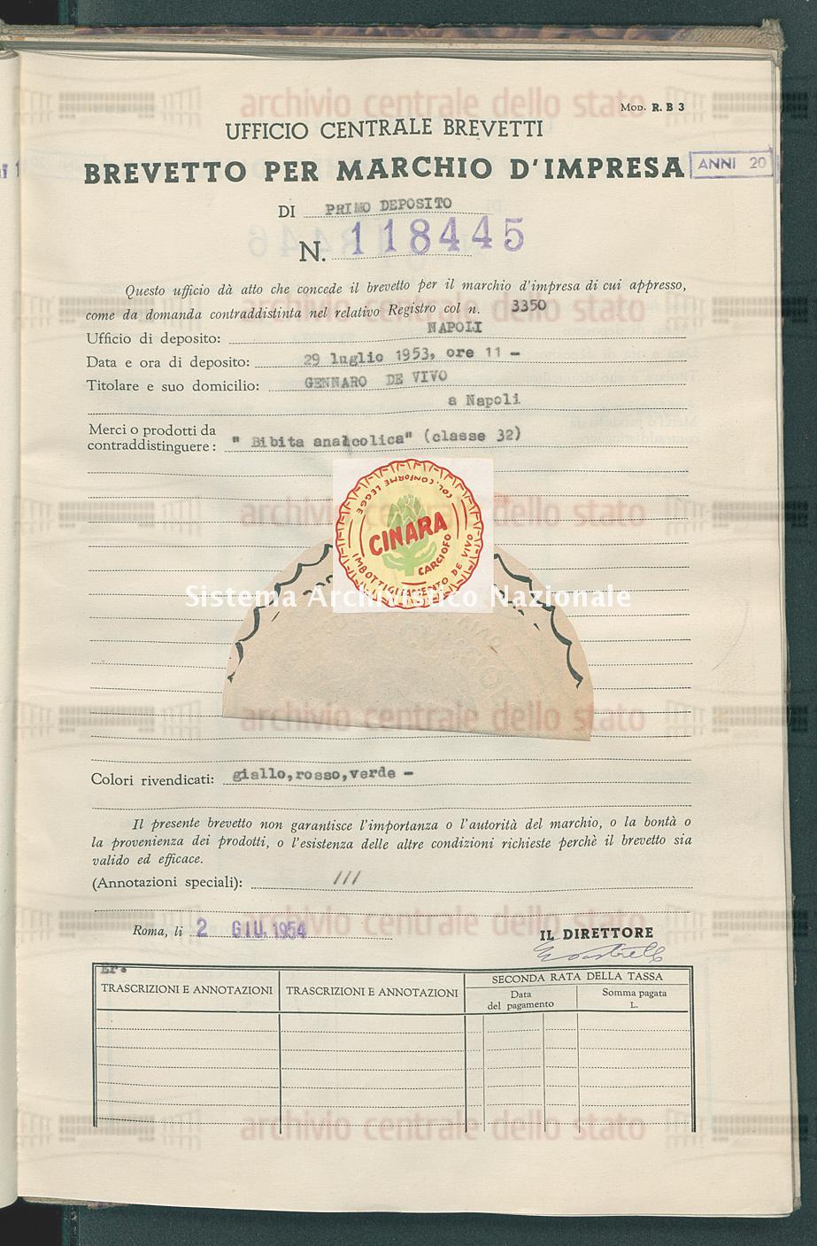 'Bibita analcolica' Gennaro De Vivo (02/06/1954)