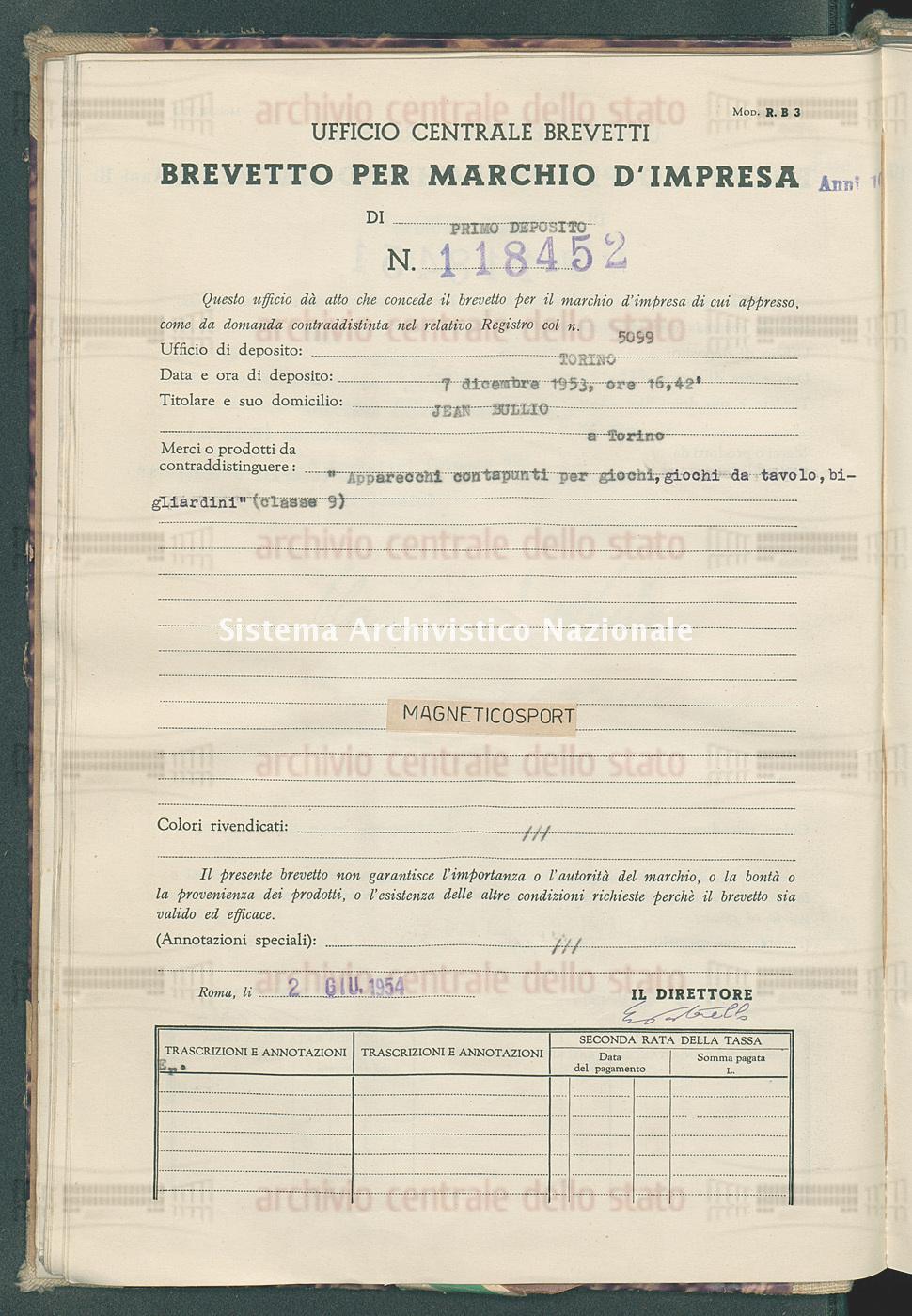 'Apparecchi contapunti per giochi, giochi da tavolo, bigliardini' Jean Bullio (02/06/1954)