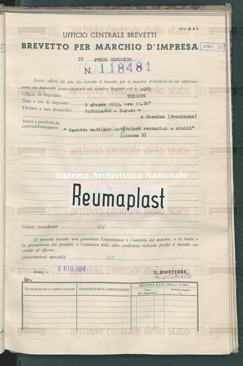 'Cerotto medicato antidolori reumatici e simili' Farmalabor - S.P.A. - (08/06/1954)