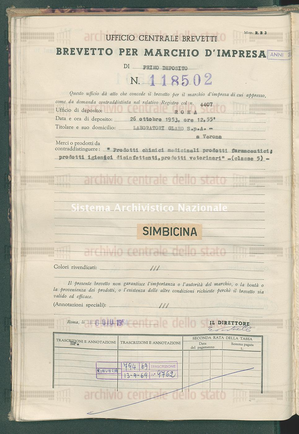 'Prodotti chimici medicinali prodotti farmaceutici; prodotti ecc. Laboratorio Glaxo S.P.A. (08/06/1954)