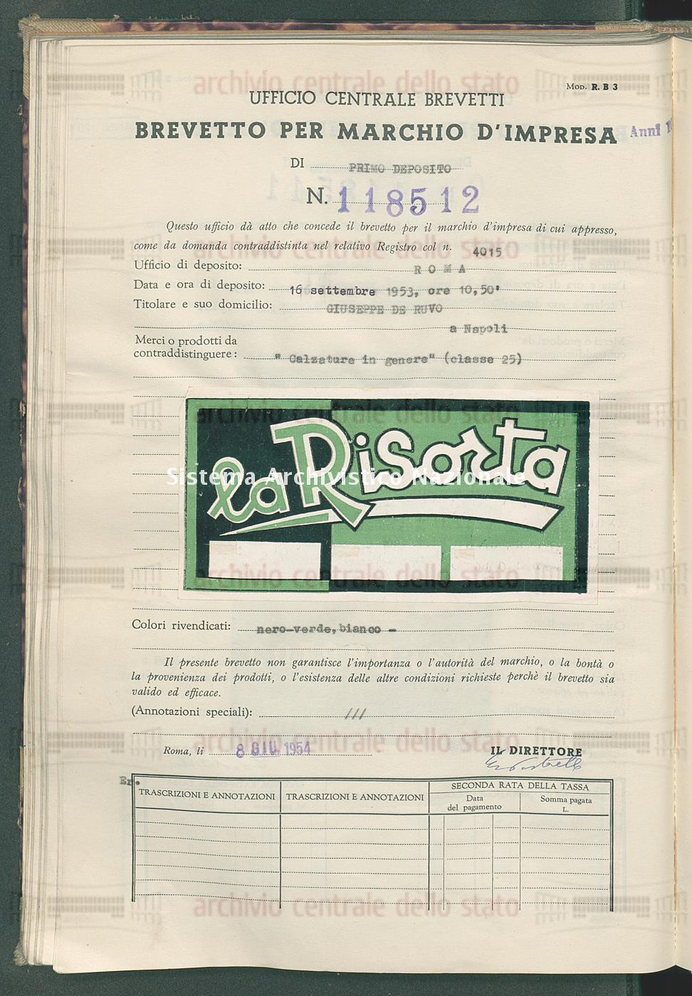 'Calzaure in genere' Giuseppe De Ruvo (08/06/1954)
