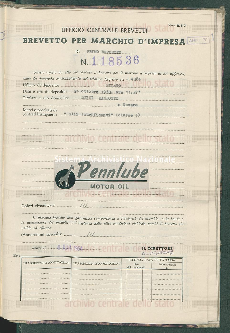 'Olii lubrificanti' Luigi Zambotti (08/06/1954)