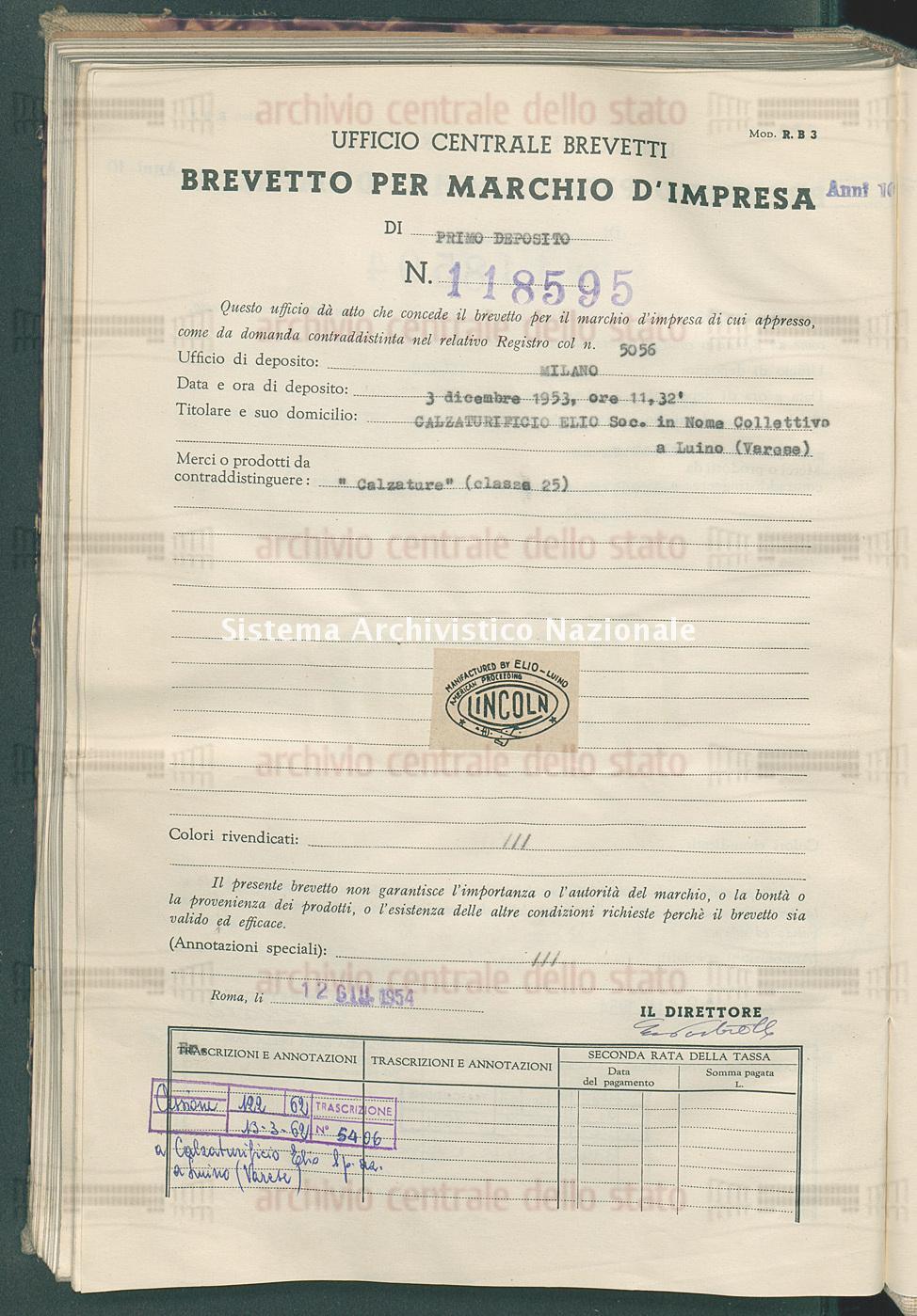 'Calzature' Calzaturificio Elio Soc. In Nome Collettivo (12/06/1954)