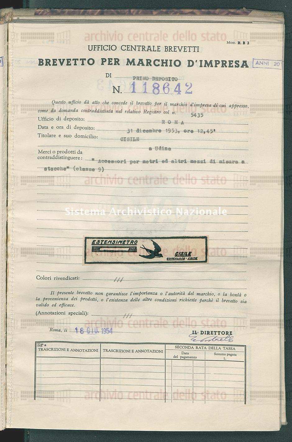 'Accessori per metri ed altri mezzi di misura a stecche' Cisile (18/06/1954)