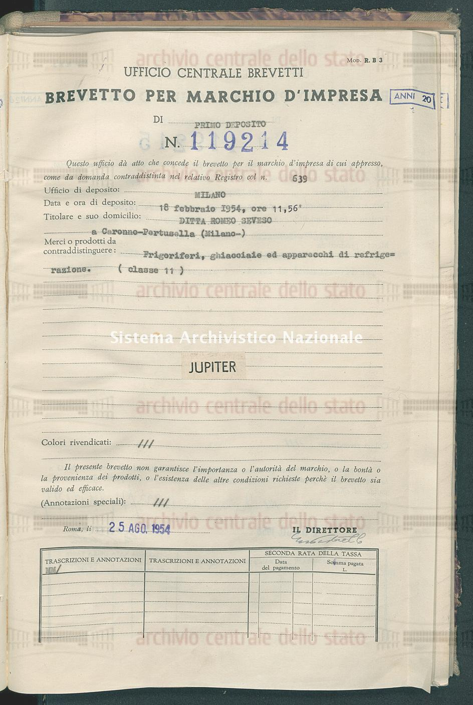 Frigoriferi, ghiacciaie ed ecc. Ditta Romeo Seveso (25/08/1954)