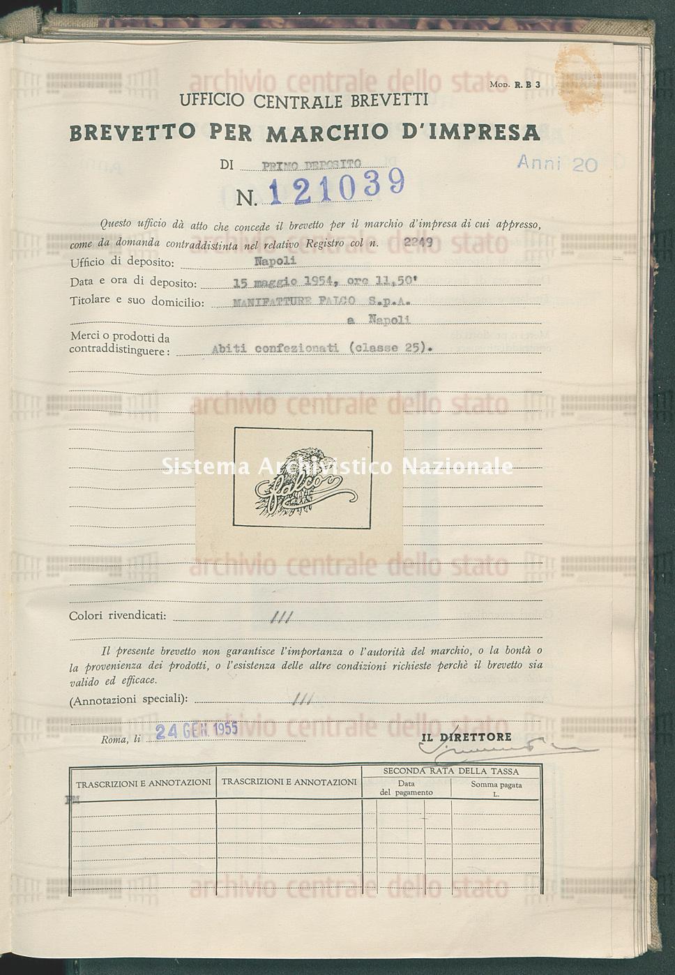 Abiti confezionati Manifatture Falco S.P.A. (24/01/1955)