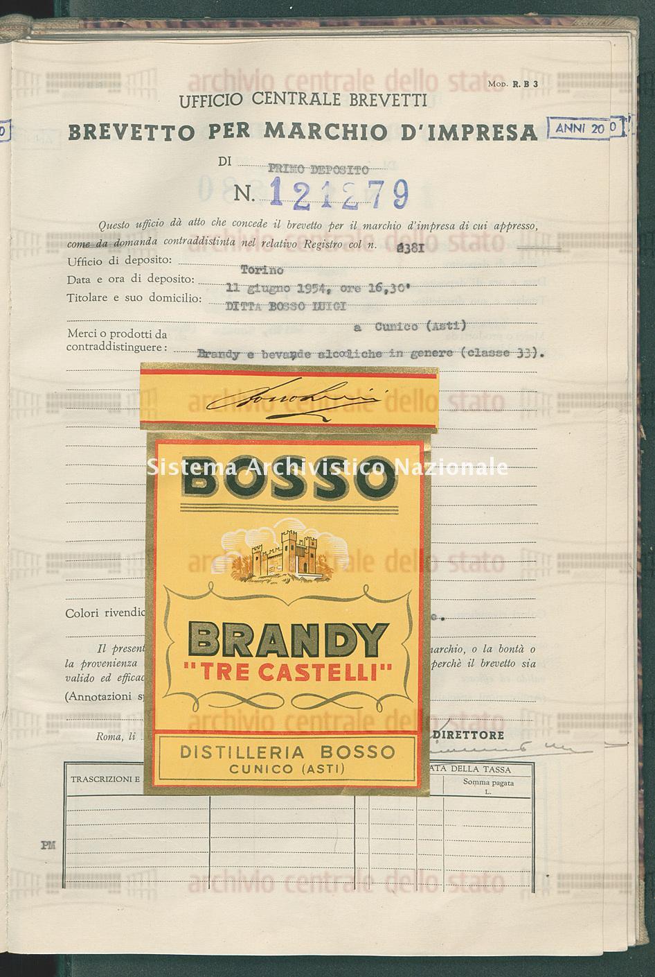 Brandy e bevande alcoliche in genere Ditta Bosso Luigi (29/01/1955)