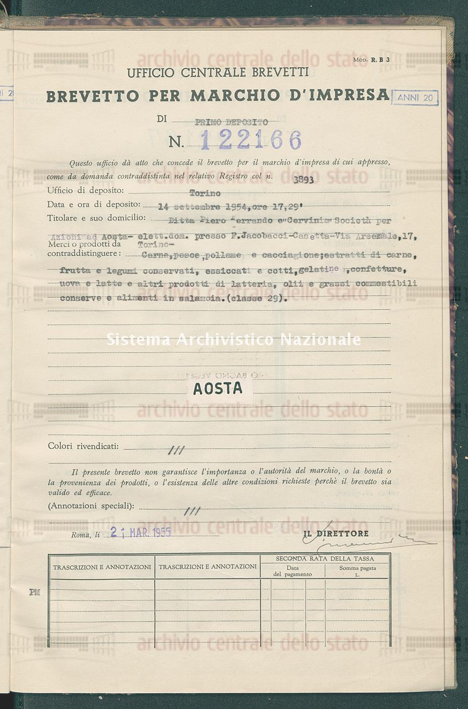 Carne, pesce, pollame ecc. Ditta Piero Ferrando E 'Cervinia' Societa' Per Azioni (21/03/1955)