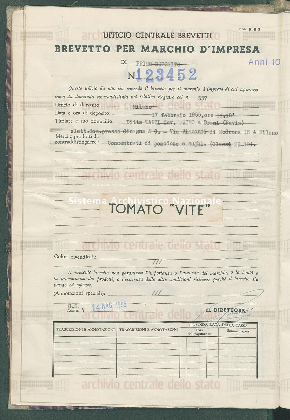 Concentrati di pomodoro e sughi Ditta Tanzi Cav. Primo (14/05/1955)