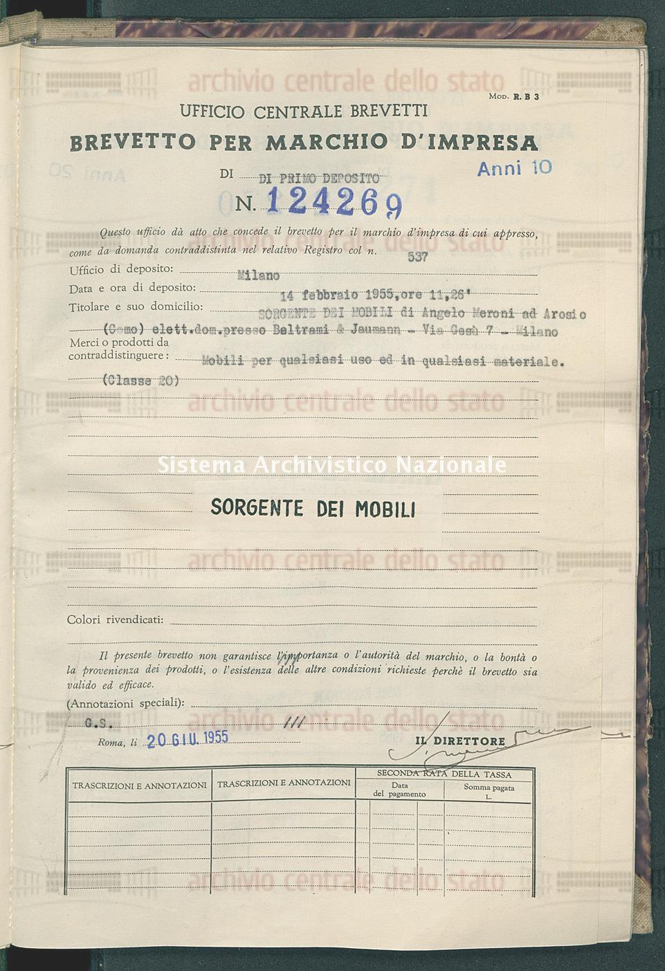 Mobili per qualsiasi uso ecc. Sorgente Dei Mobili Di Angelo Meroni (20/06/1955)