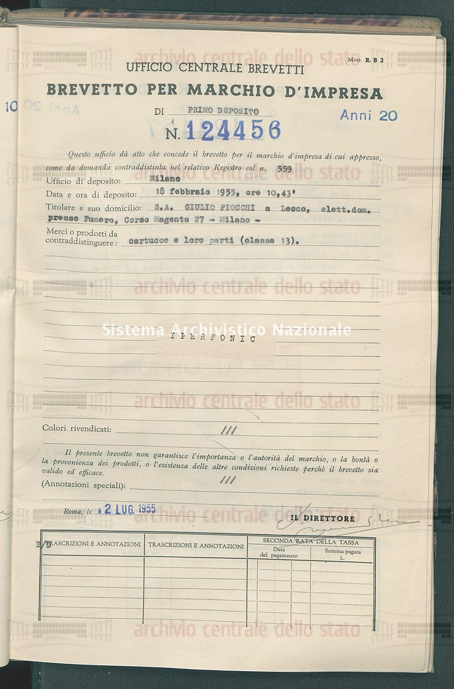 Cartucce e loro parti S.A. Giulio Fiocchi (02/07/1955)