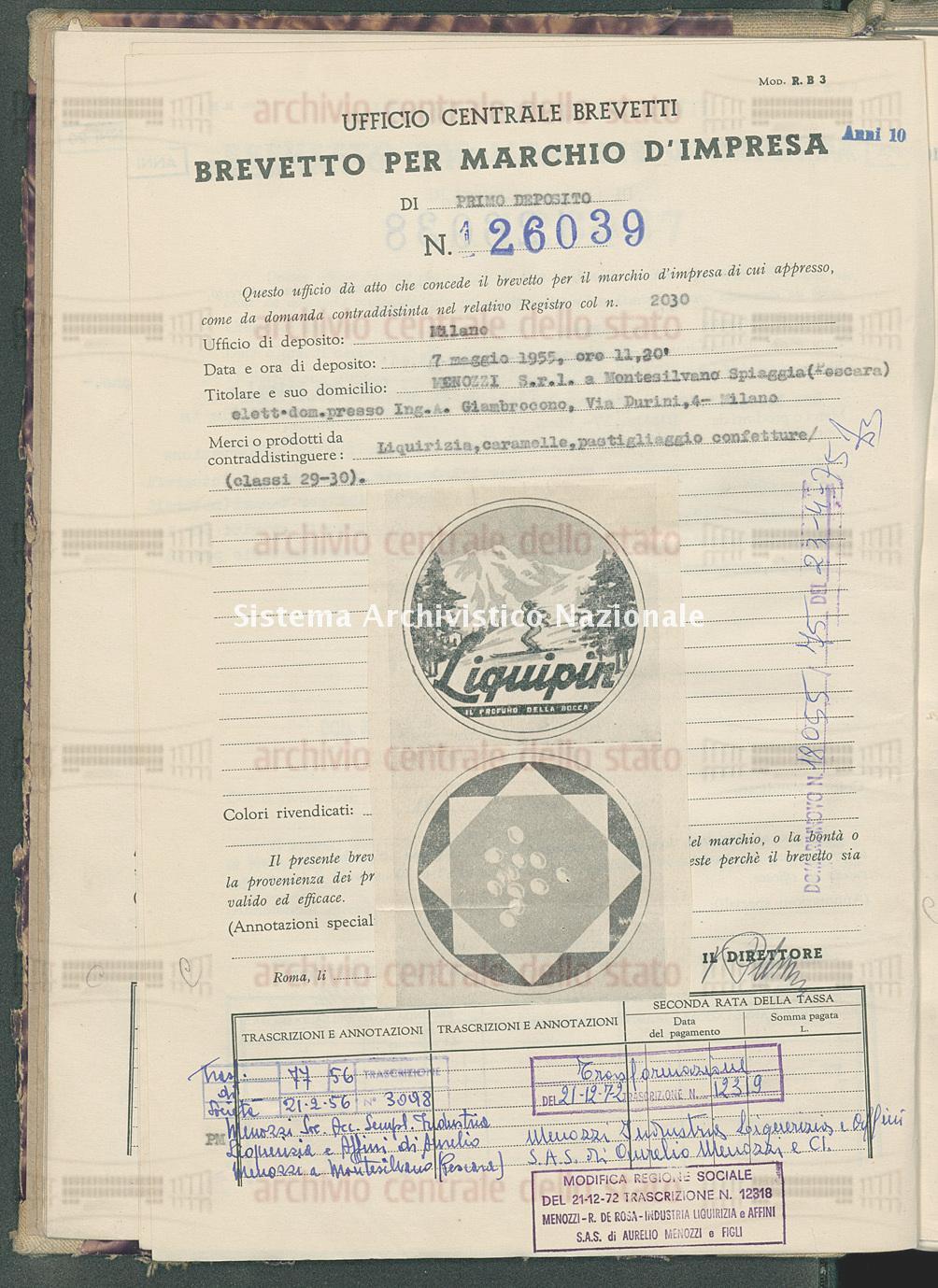 Liquirizia, caramelle, pastigliaggio ecc. Menozzi S.R.L. (20/12/1955)