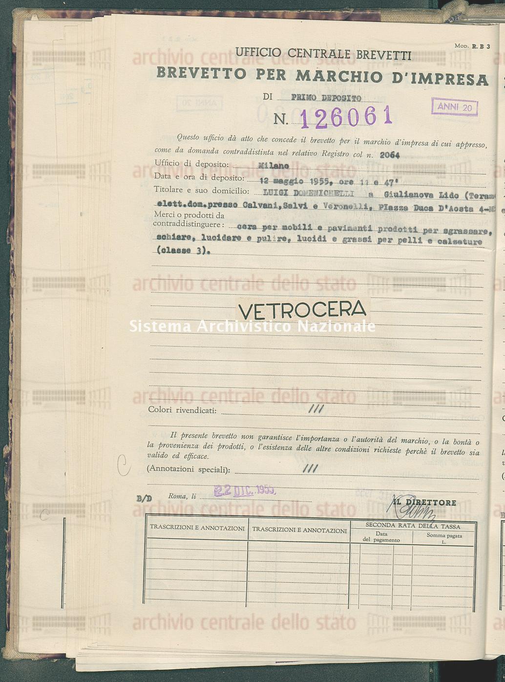 Cera per mobili e pavimenti prodotti ecc. Luigi Domenichelli (22/12/1955)
