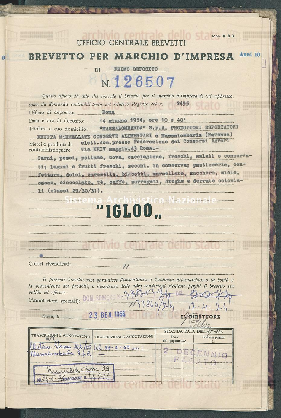 'Massalombarda' S.P.A. Produttori Esportatori Frutta Marmellate Conserve Alimentari (23/01/1956)