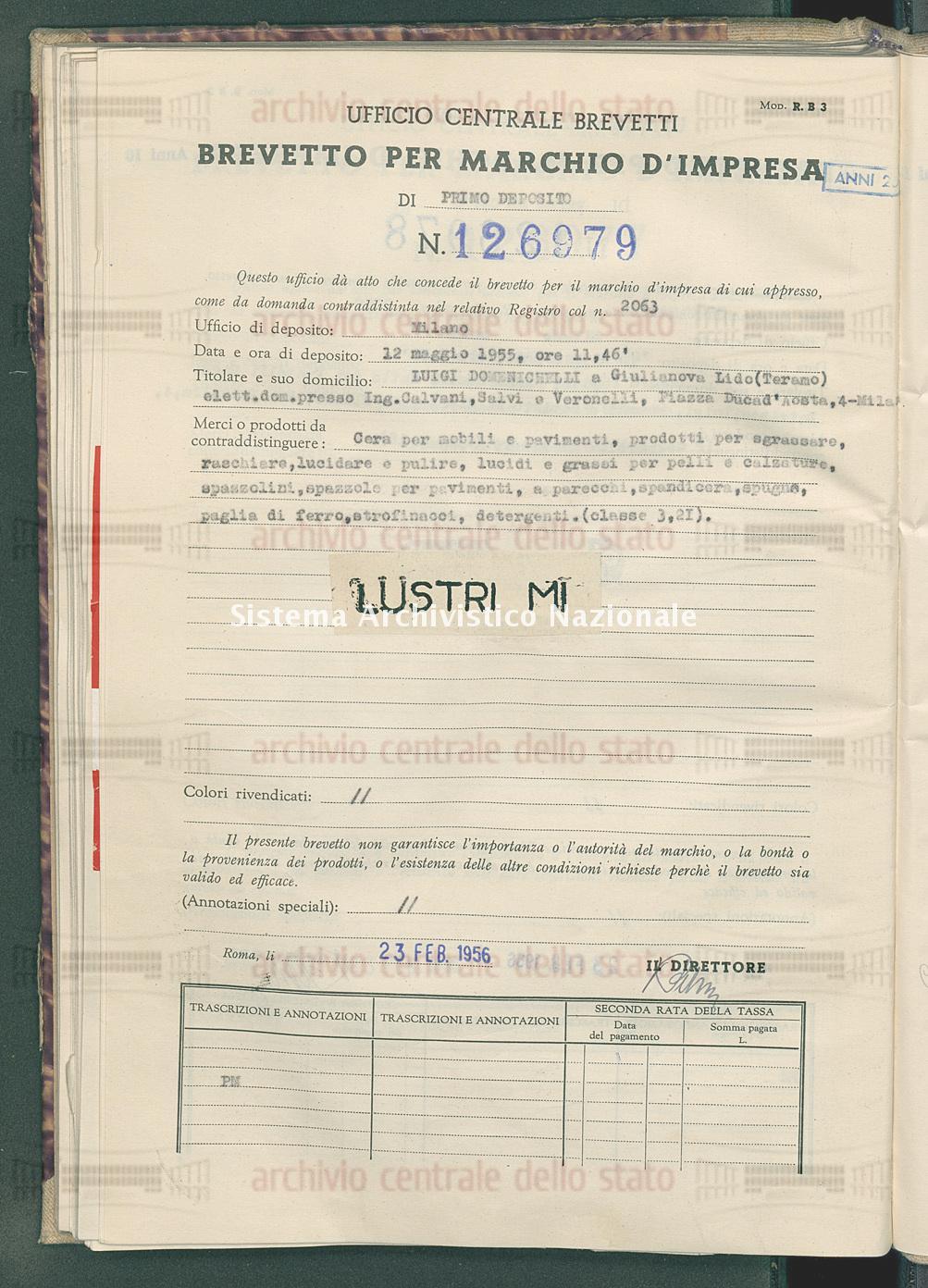 Cera per mobili e pavimenti ecc. Luigi Domenichelli (23/02/1956)