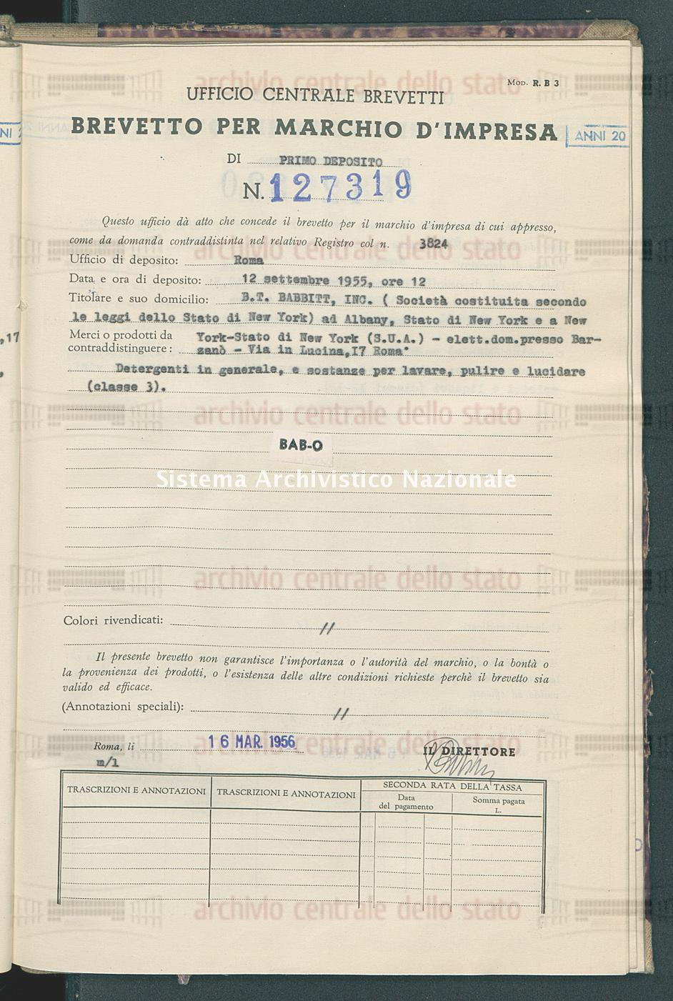 B.T.Babbitt, Inc.(Societa' Costituita Secondo Le Leggi Dello Stato Di New York) (16/03/1956)