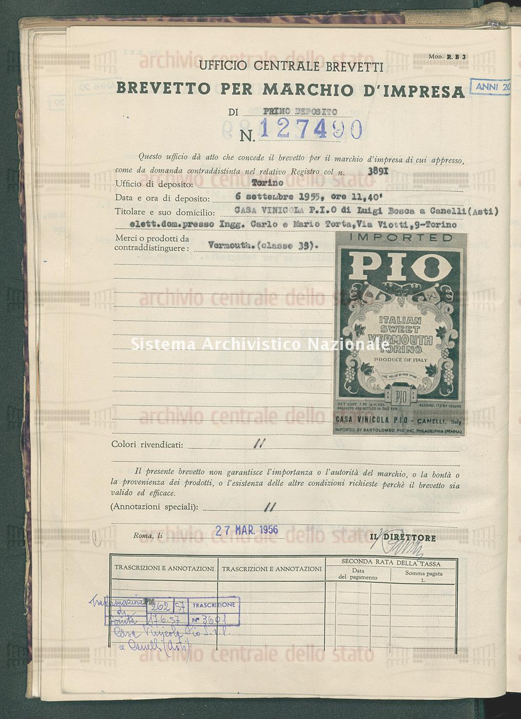 Casa Vinicola P.I.O. Di Luigi Bosca (27/03/1956)