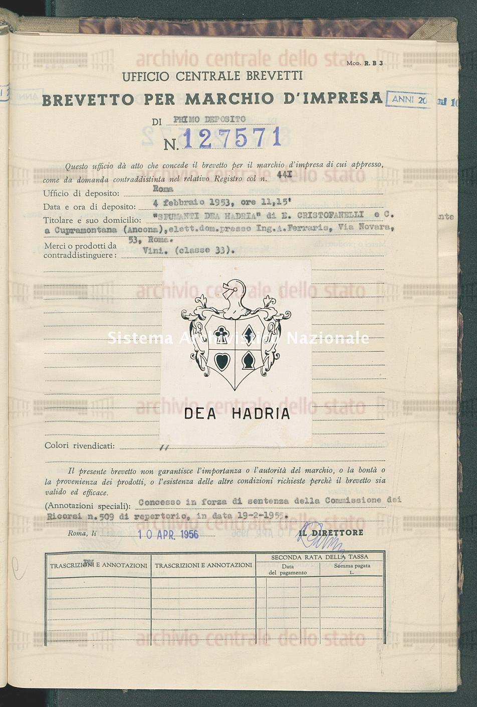 'Spumanti Dea Hadria' Di E.Cristofanelli E C. (10/04/1956)
