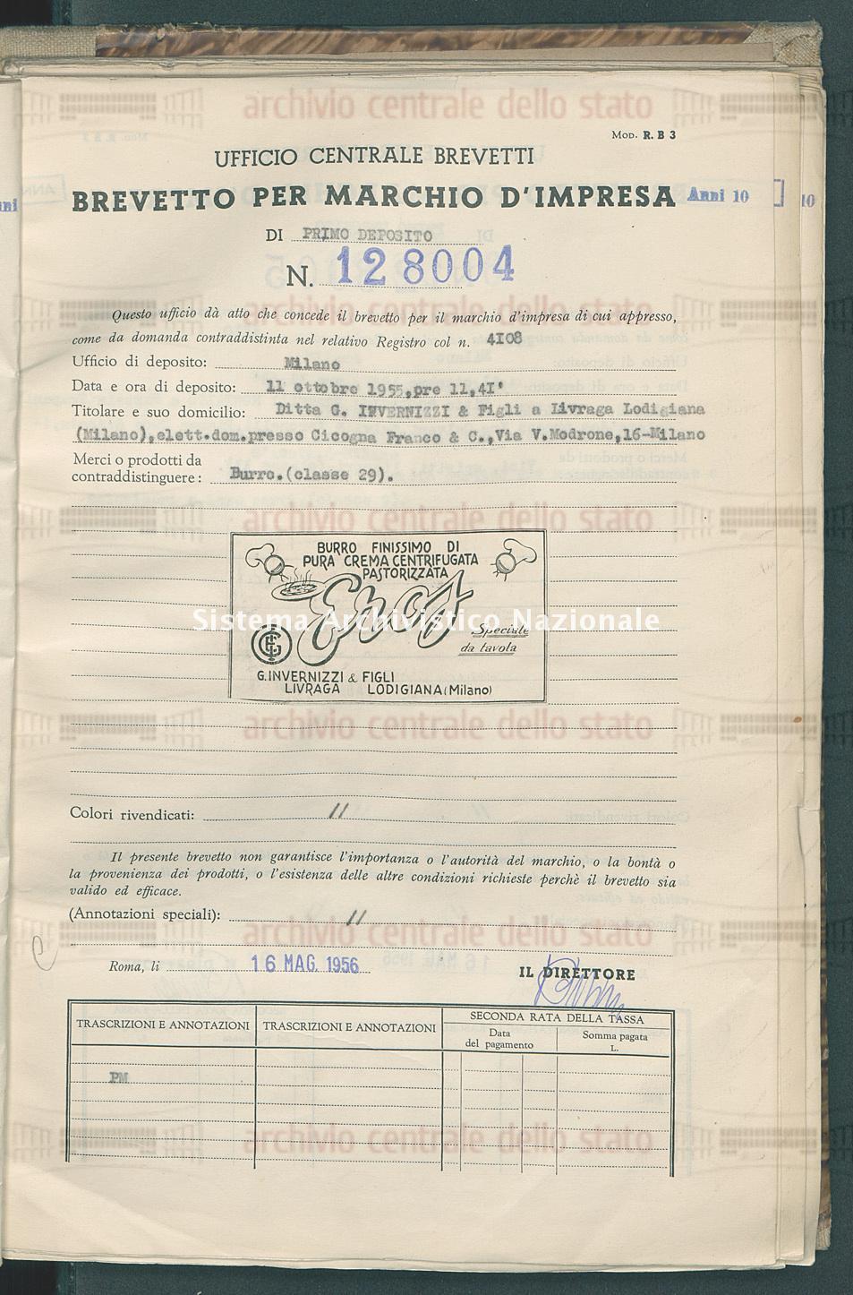 Burro Ditta G.Invernizzi & Figli (16/05/1956)