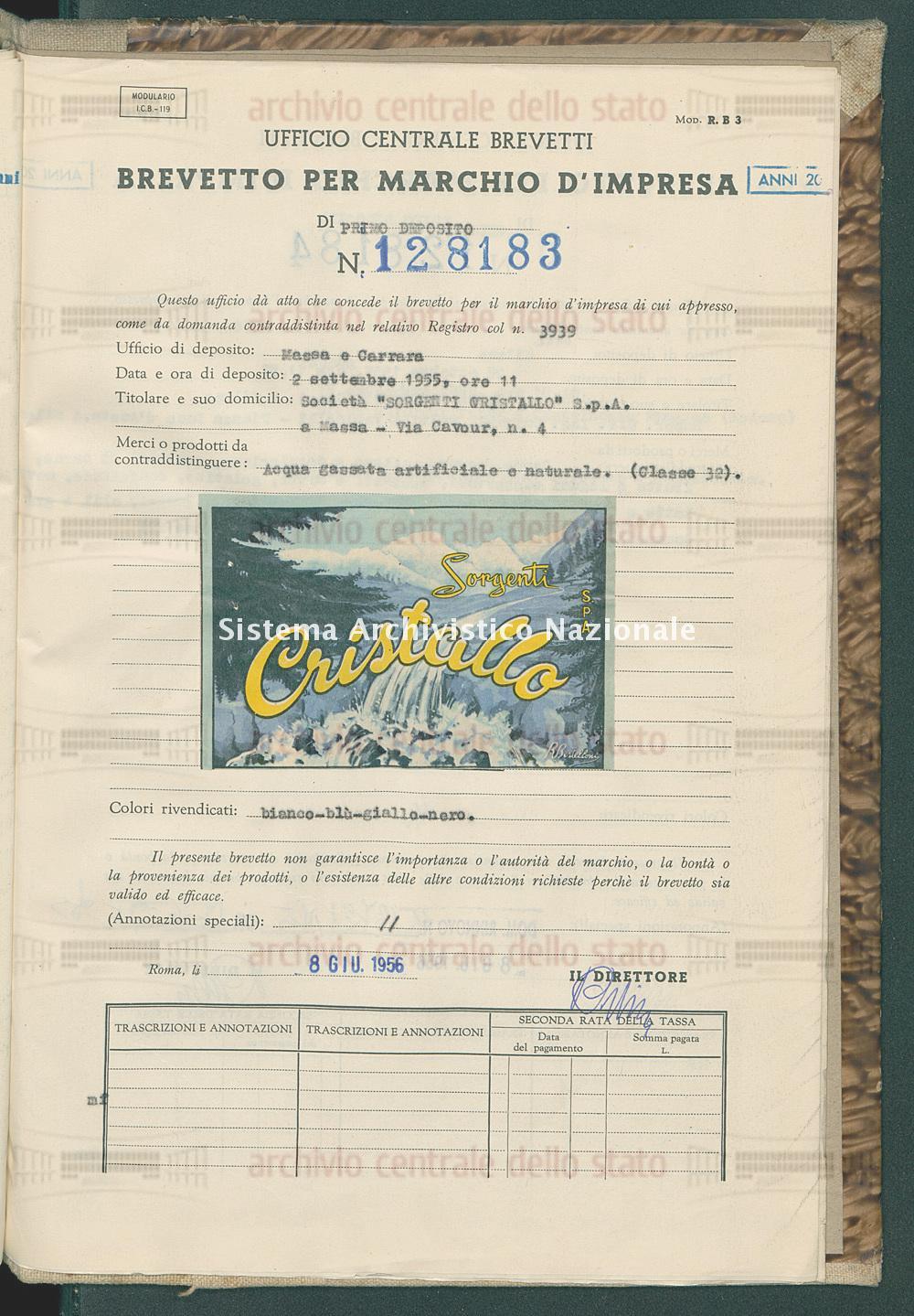 Acqua gassata artificiale ecc. Societa' 'Sorgenti Cristallo' S.P.A. (08/06/1956)