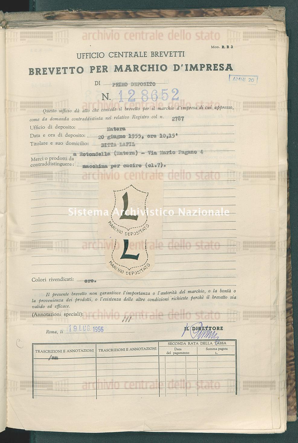 Macchina per cucire Ditta Lafil (19/07/1956)