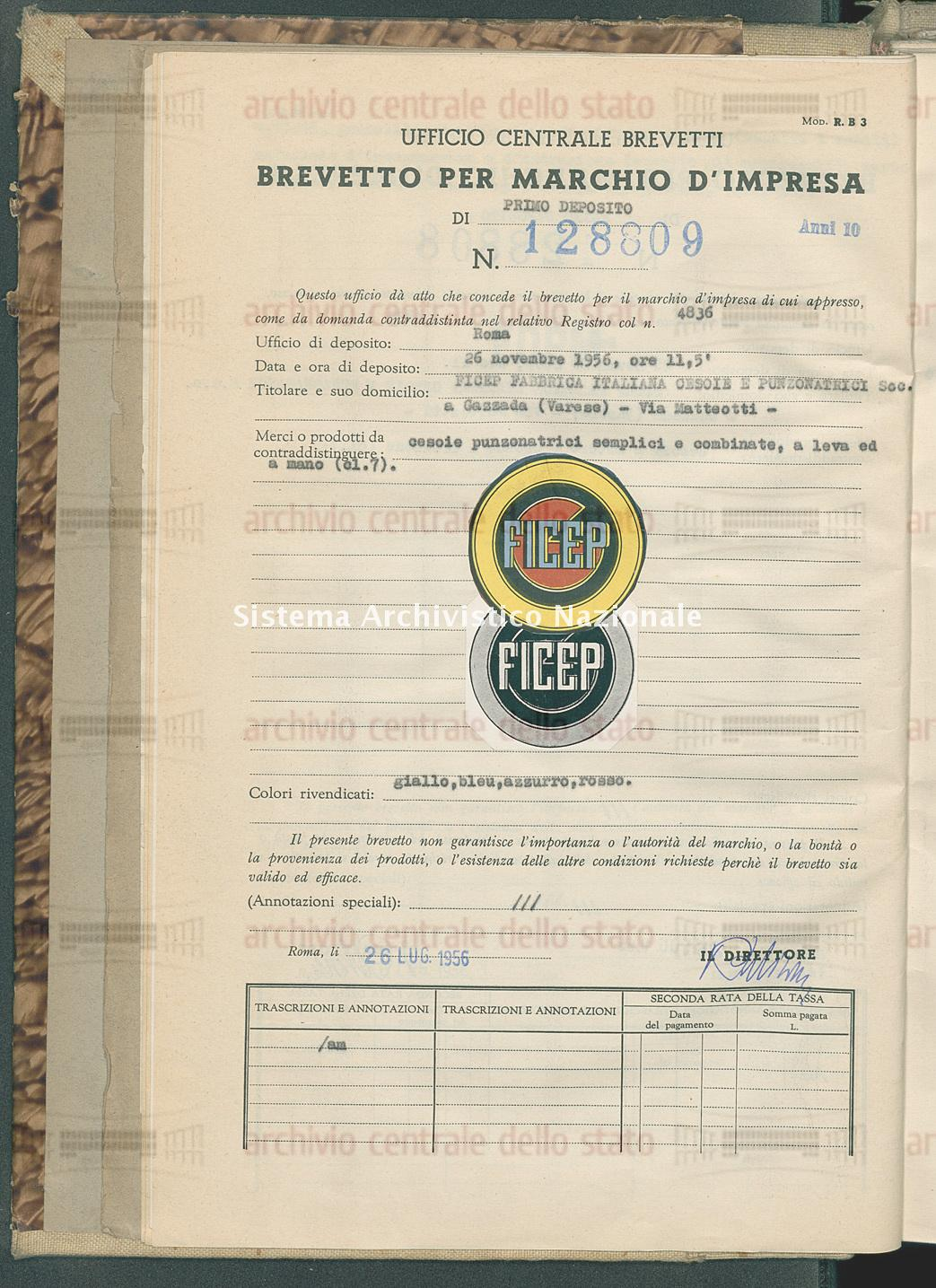 Ficep Fabbrica Italiana Cesoie E Punzonatrici S.A.S. (26/07/1956)