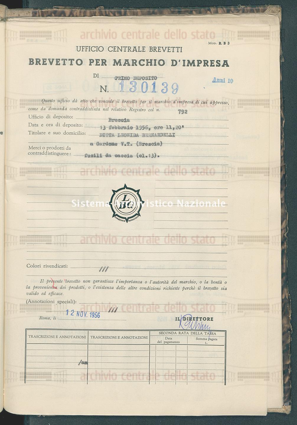 Fucili da caccia Ditta Leonida Bernardelli (12/11/1956)