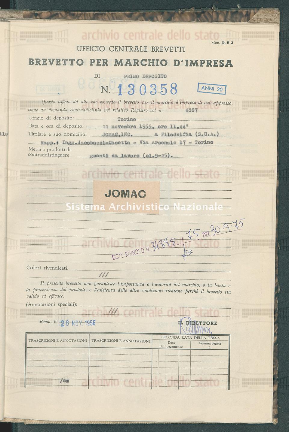 Guanti da lavoro Jomac, Inc. (28/11/1956)