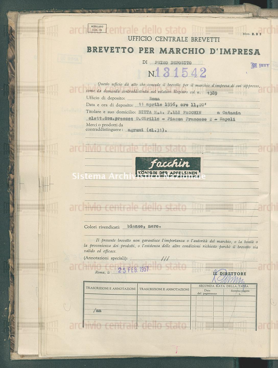 Agrumi Ditta M.A. F.Lli Facchin (25/02/1957)