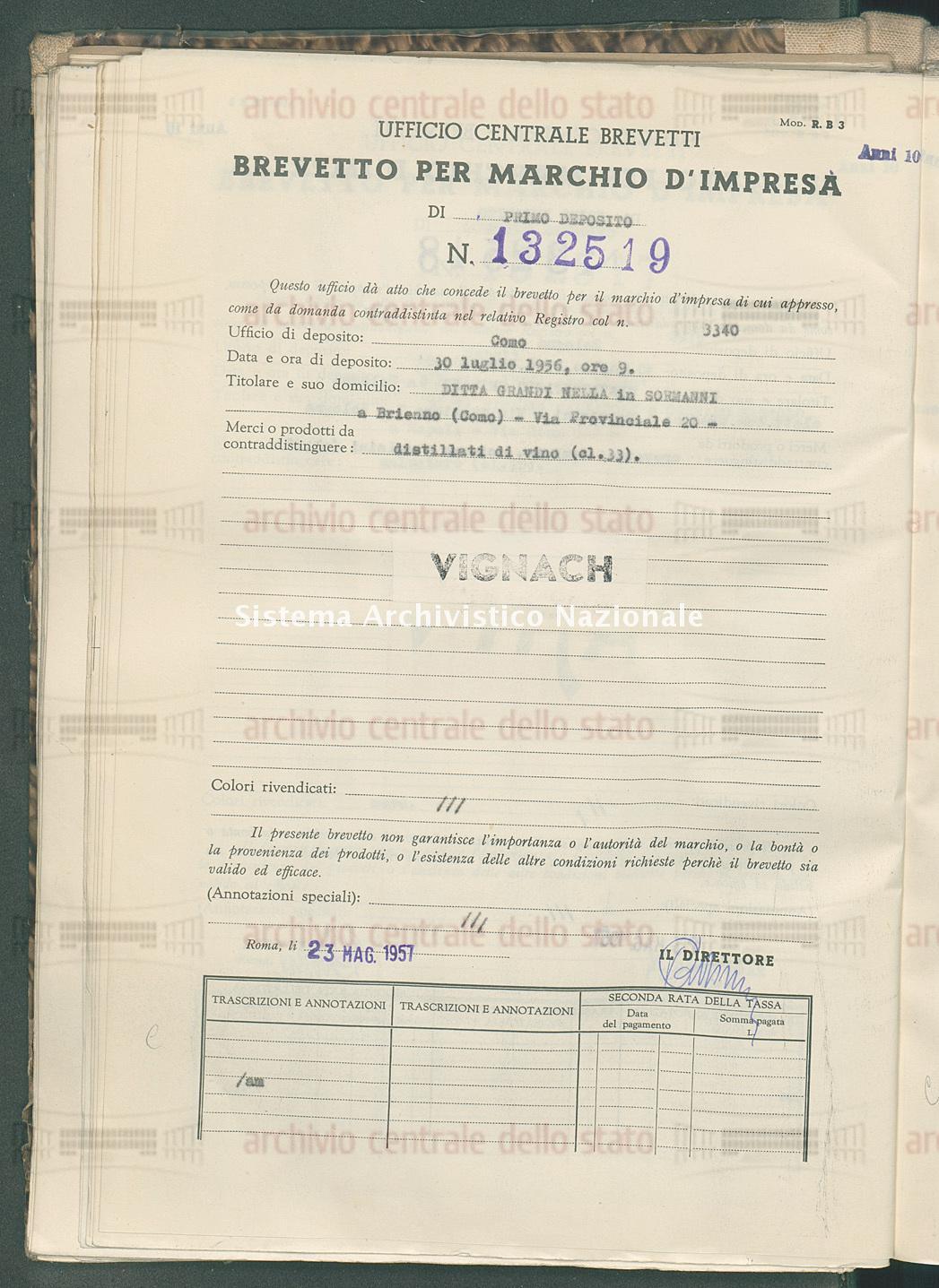 Distillati di vino Ditta Grandi Nella In Sormanni (23/05/1957)