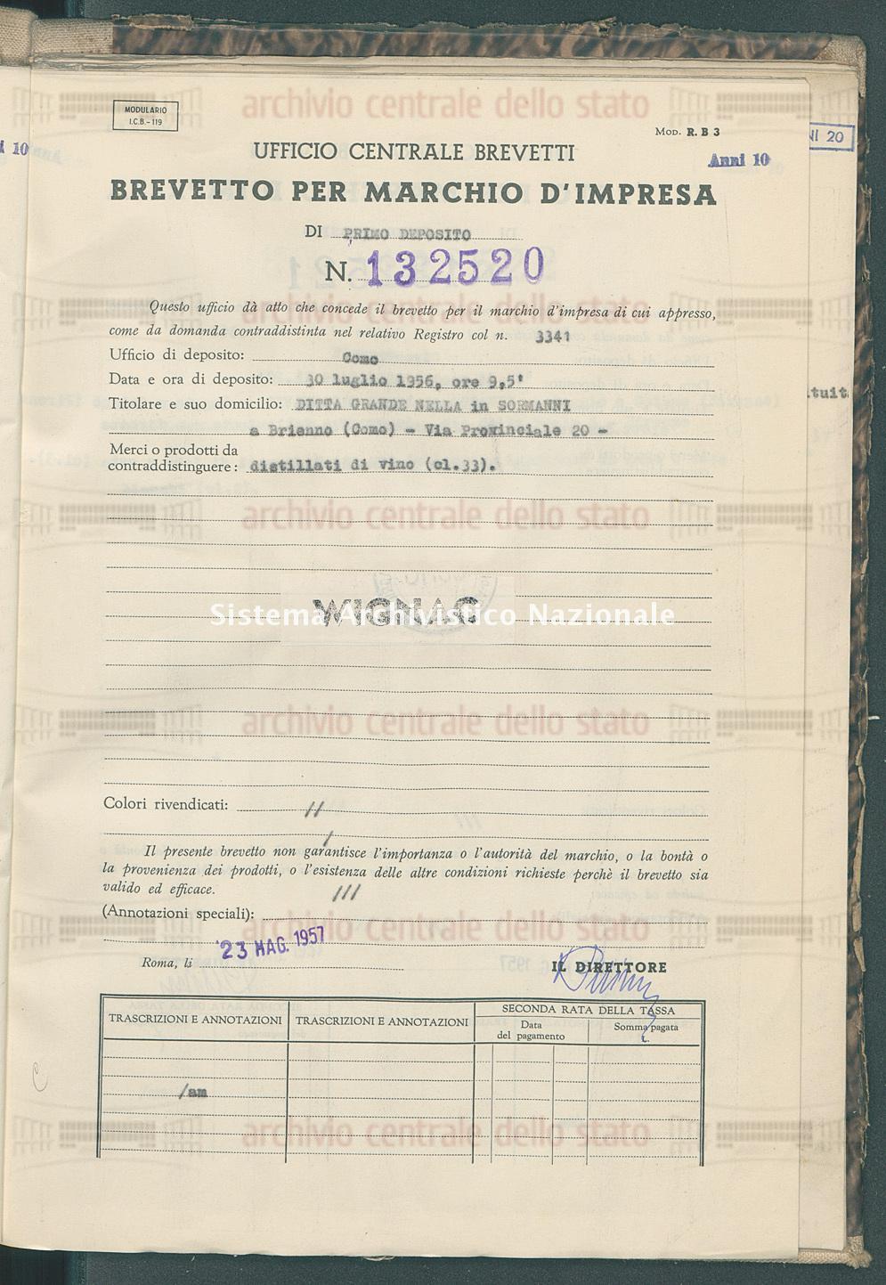 Distillati di vino Ditta Grande Nella In Sormanni (23/05/1957)