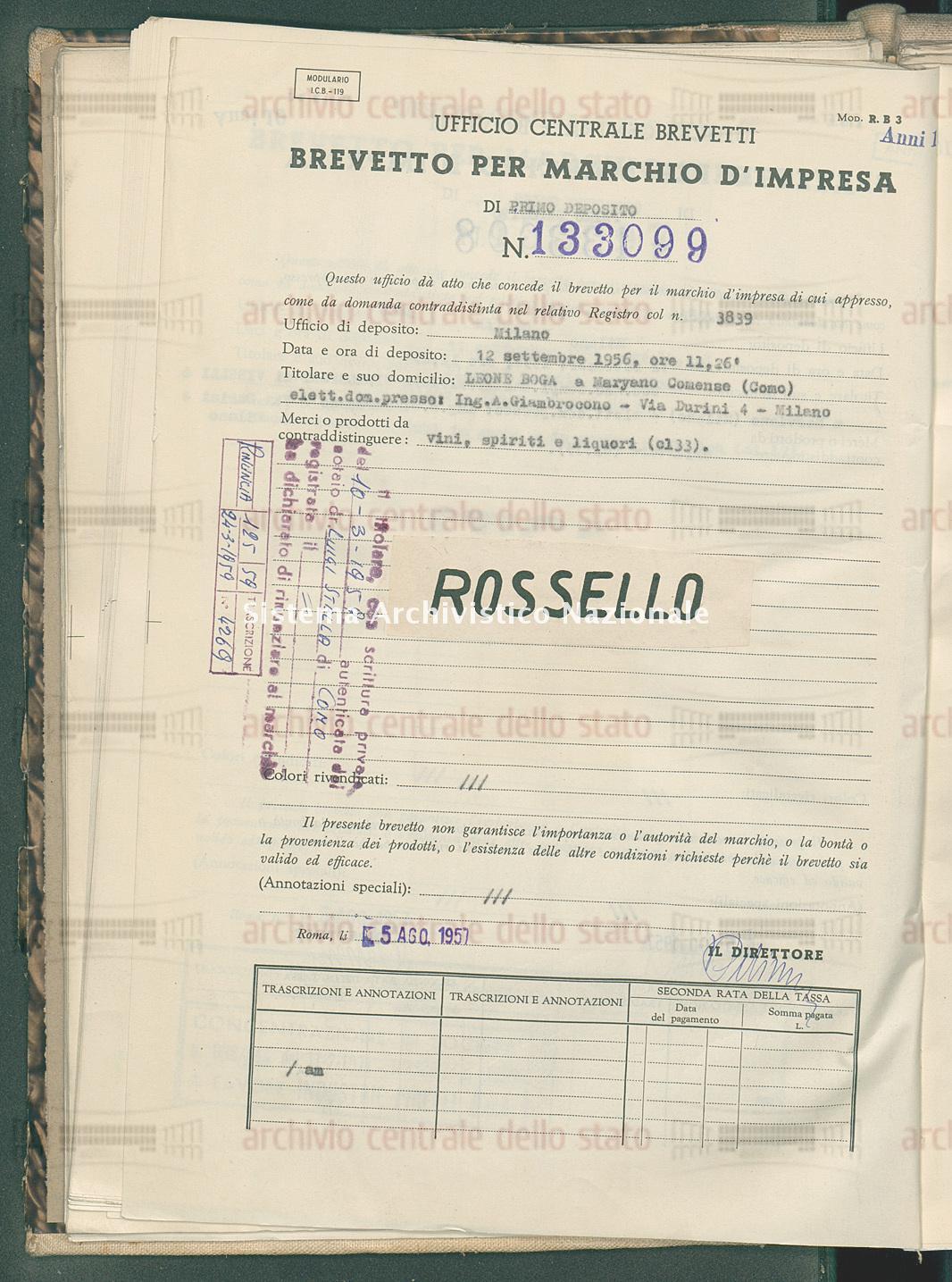 Vini, spiriti e liquori Leone Boga (05/08/1957)